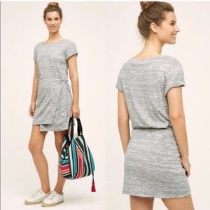 Anthropologie Maeve Gray Front Wrap Dress L